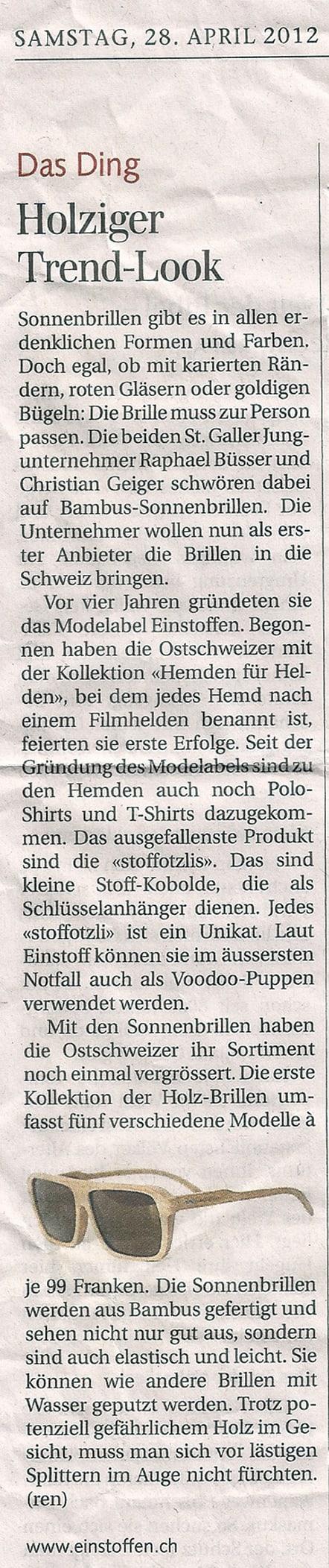 Tagblatt Holzsonnenbrillen